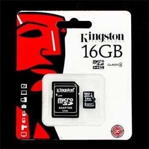 microSDHC 16GB Kingston w/a adapteru (EU Blister)